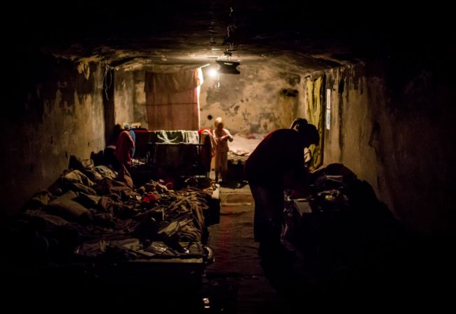 Donetsk locals permanently live in underground shelters because their houses were destroyed by shelling