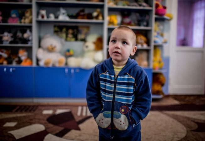 Ilia and his three sisters are staying in reopened orphanage in Shakhtersk, Donetsk region as their mother died of gumboil during active fighting back in July