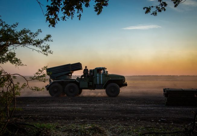 Grad MRLS is leaving Ukrainian Army base near Amvrosievka, Donetsk region. Multiple rocket launcher systems are widely used by all conflict sides often resulting in numerous civil casualties