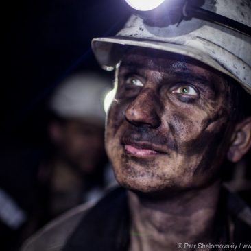 Coal mine workers in Donetsk