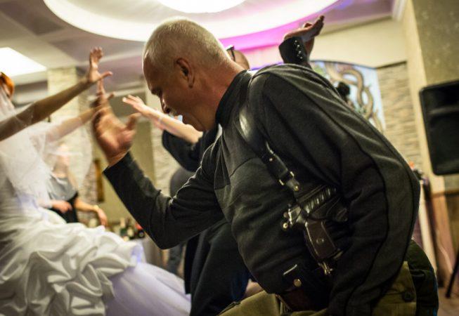 Igor Bezler unit members dance  at the wedding of thier comrades in Gorlovka,  Donetsk region, Ukrane