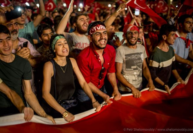 Pro-government supporters celebrate failed coup attempt in Taksim square of Istanbul, Turkey