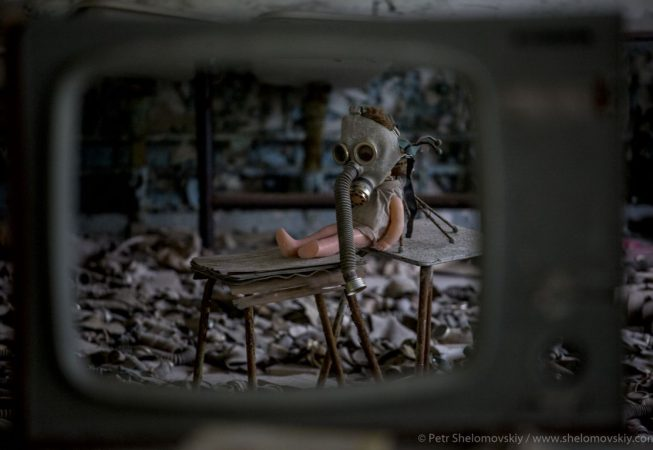 A visitor made installation in one of Pripyat city schools in Chernobyl exclusion zone, Ukraine